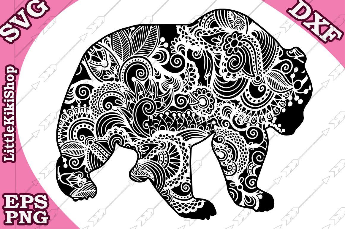 Bear svg,Zentangle Bear Svg,MANDALA BEAR SVG, Zentangle anim example image 1