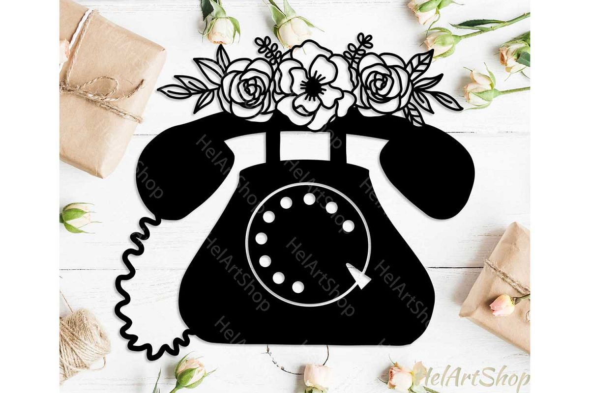 Retro Telephone svg, Floral svg example image 1