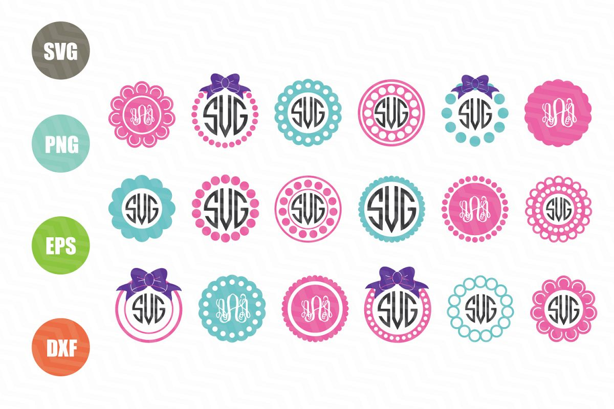 Circle Monogram Frames Svg