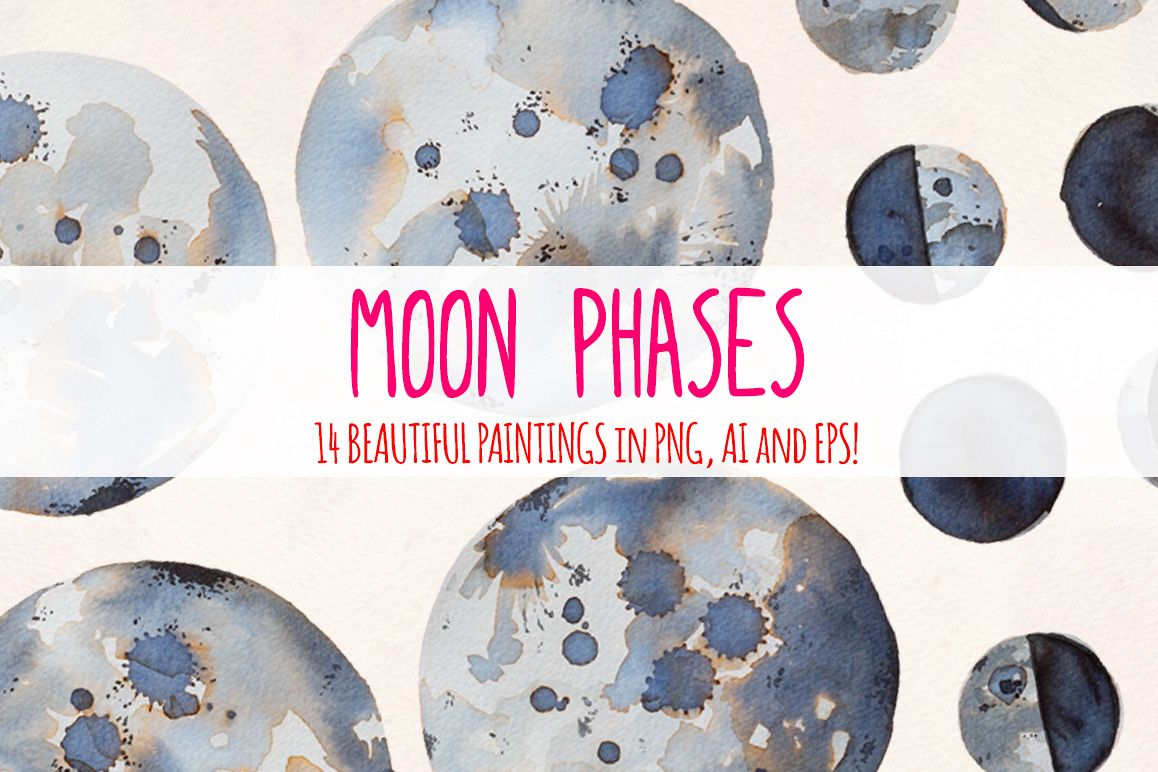 14 Moon Phases Watercolor Graphic Elements example image 1