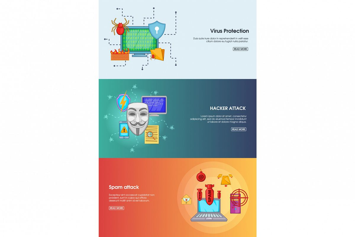 Hacker banner set template, cartoon style example image 1