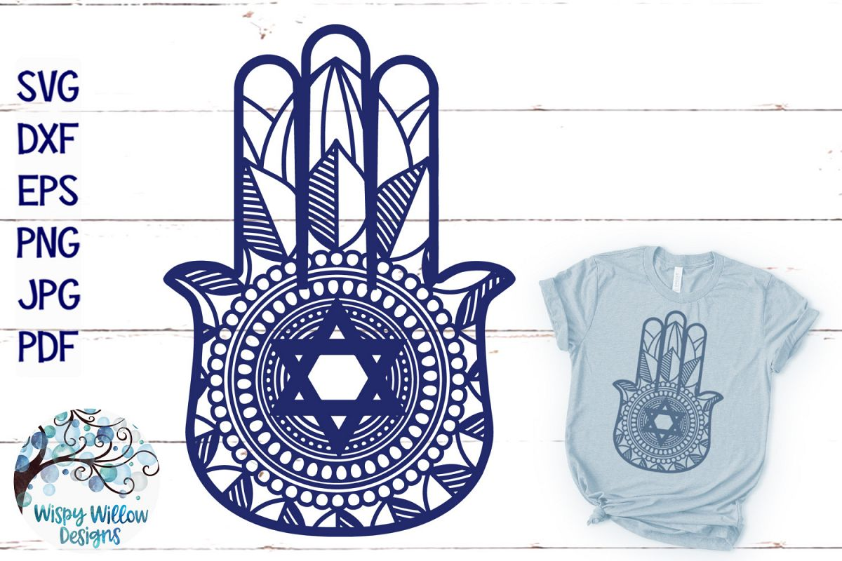 Hamsa Hand SVG   Star of David   Jewish SVG Cut File example image 1