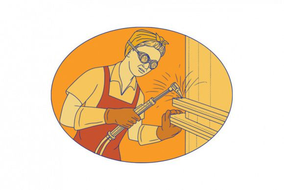 Female Welder Acetylene Welding Vintage Mono Line example image 1