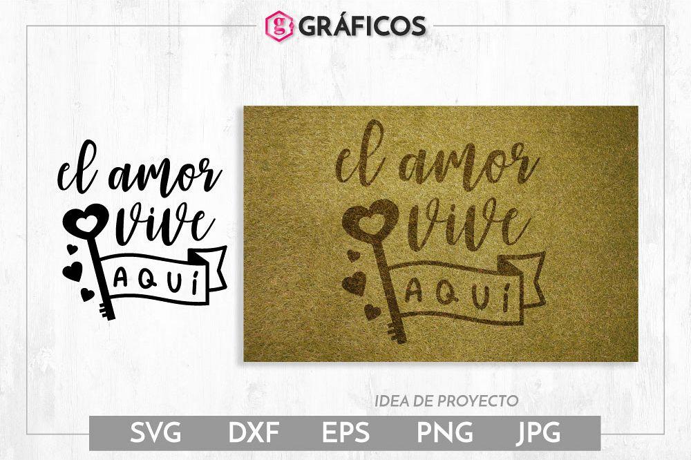 El amor vive aquí SVG - Diseño felpudo - San Valentin example image 1