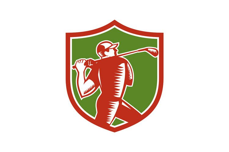 Golfer Swinging Club Shield Woodcut example image 1