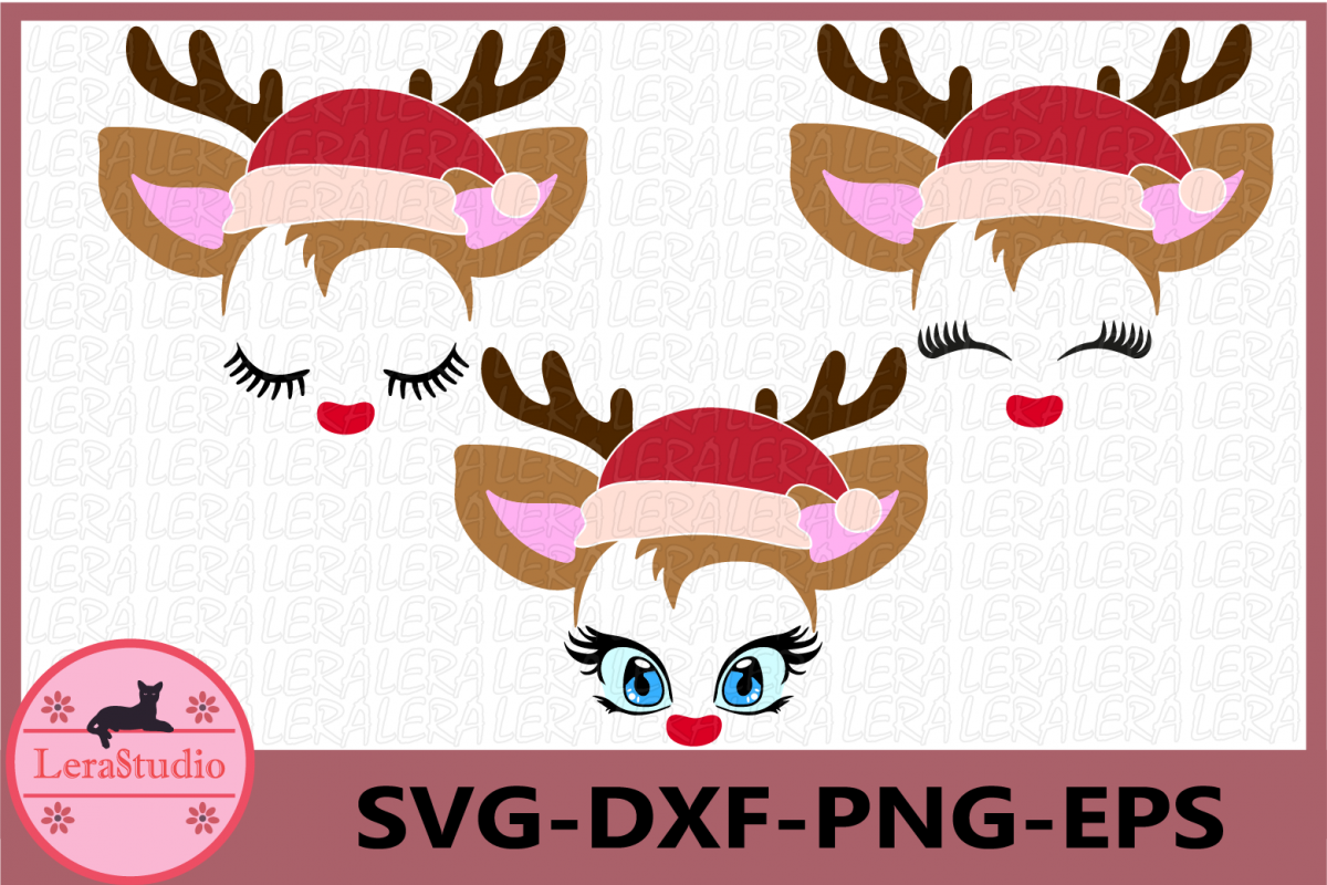Little Deer svg, Christmas Svg, Deer with eyelashes, Baby example image 1