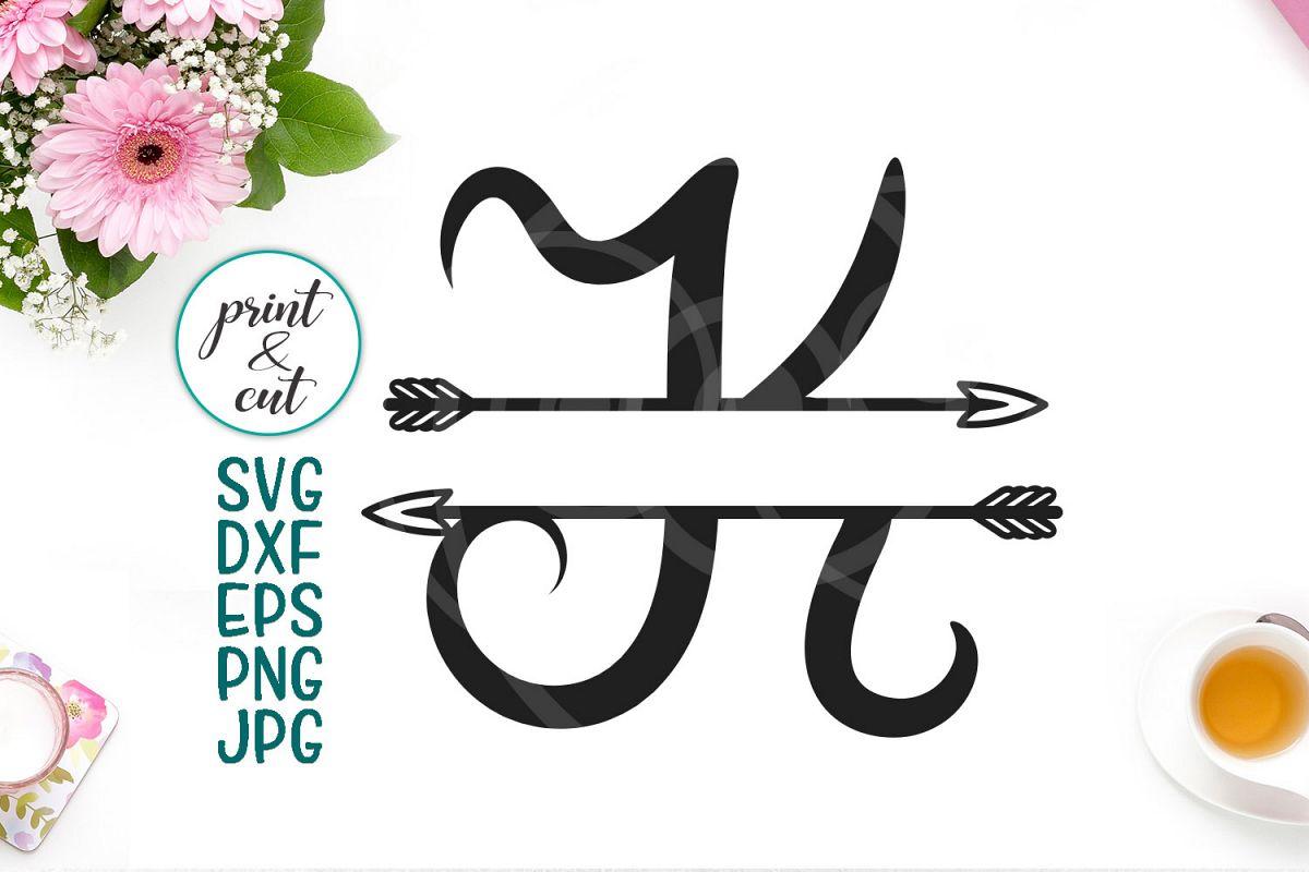 Split Monogram letters K with arrows for print cut dxf svg