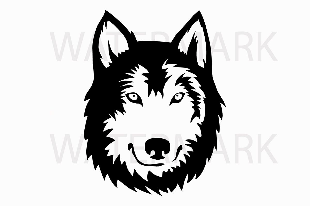 Siberian husky Black - SVG/JPG/PNG Hand Drawing example image 1