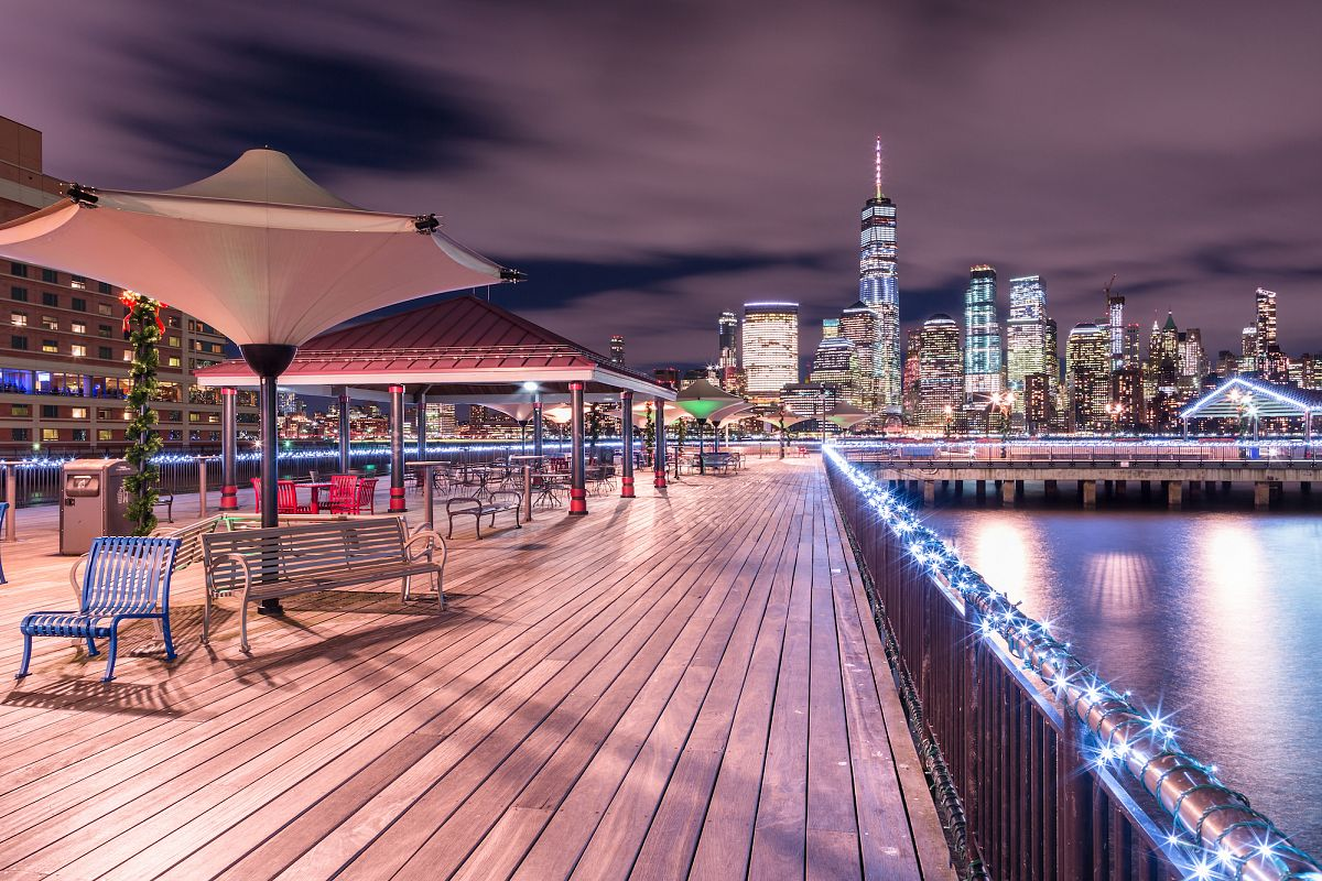 Night view on pier in Jersey city and Manhattan example image 1