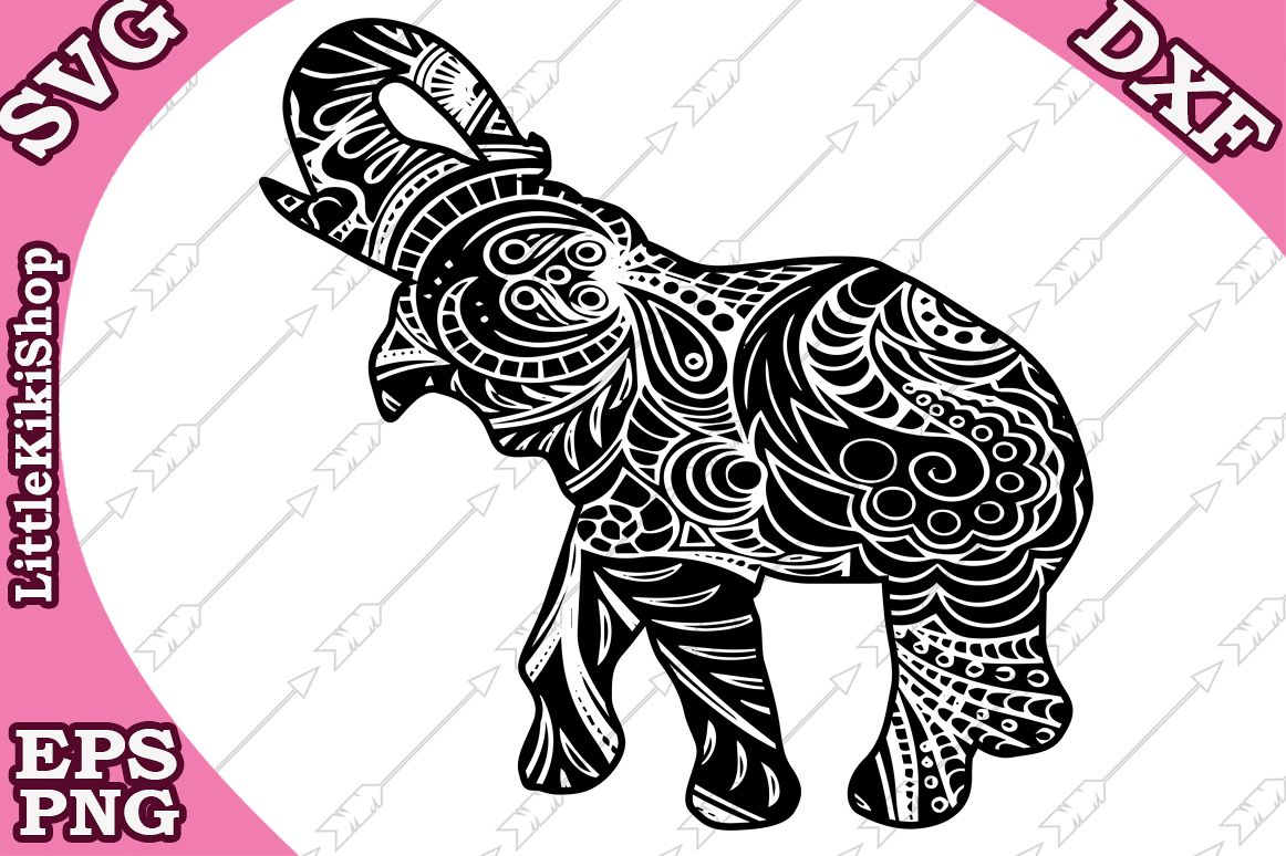 Zentangle Elephant Svg ,Mandala Elephant Svg, Zentangle anim example image 1
