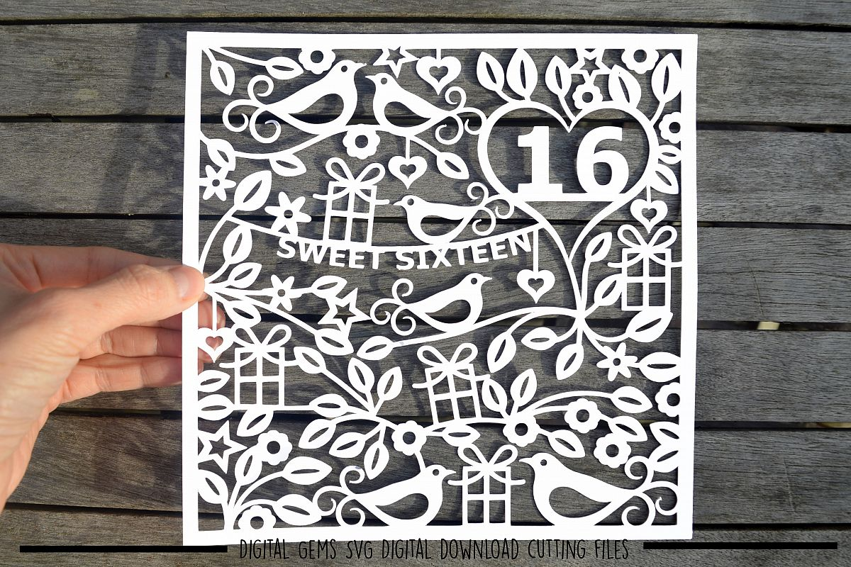 Number 16 paper cut SVG / DXF / EPS files example image 1