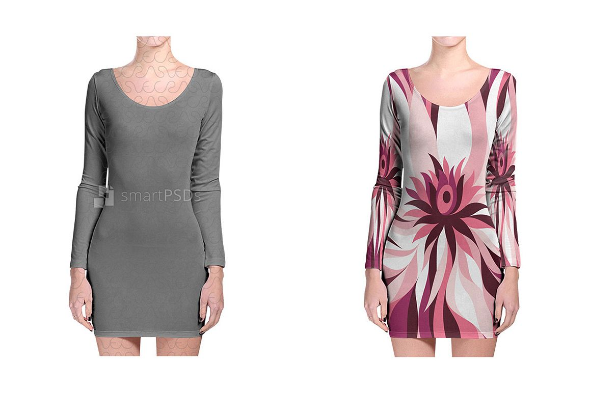 Long Sleeve Bodycon Dress Design Mockup for Sublimation Printing - 2 Views example image 1