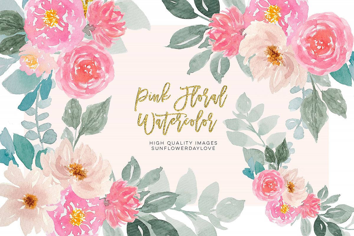 Pink and Gold Watercolor Floral Clipart Set example image 1