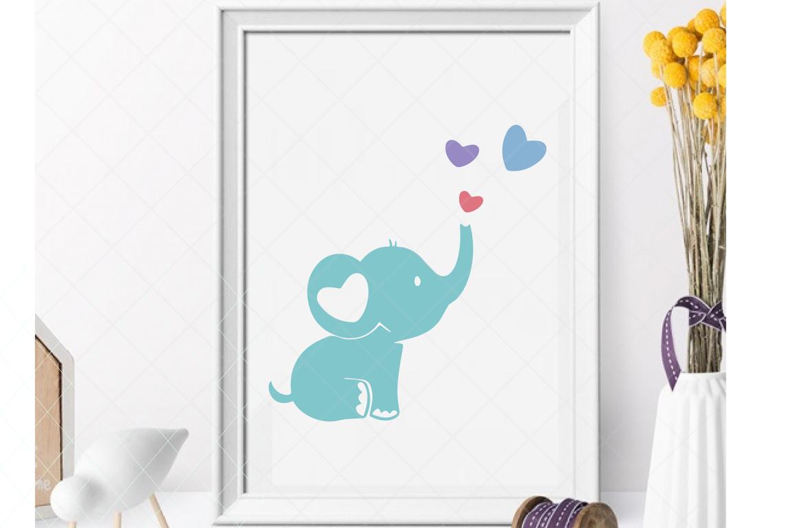 Baby elephant svg, cute elephant, baby shower cut file example image 1