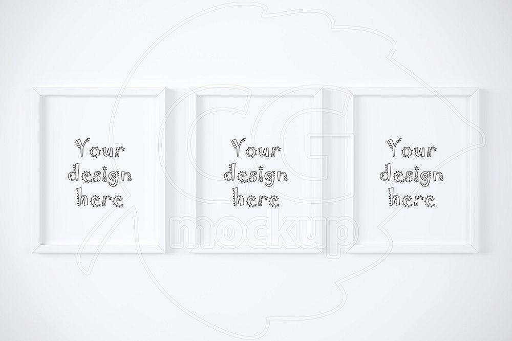 Set of three white frames mockup