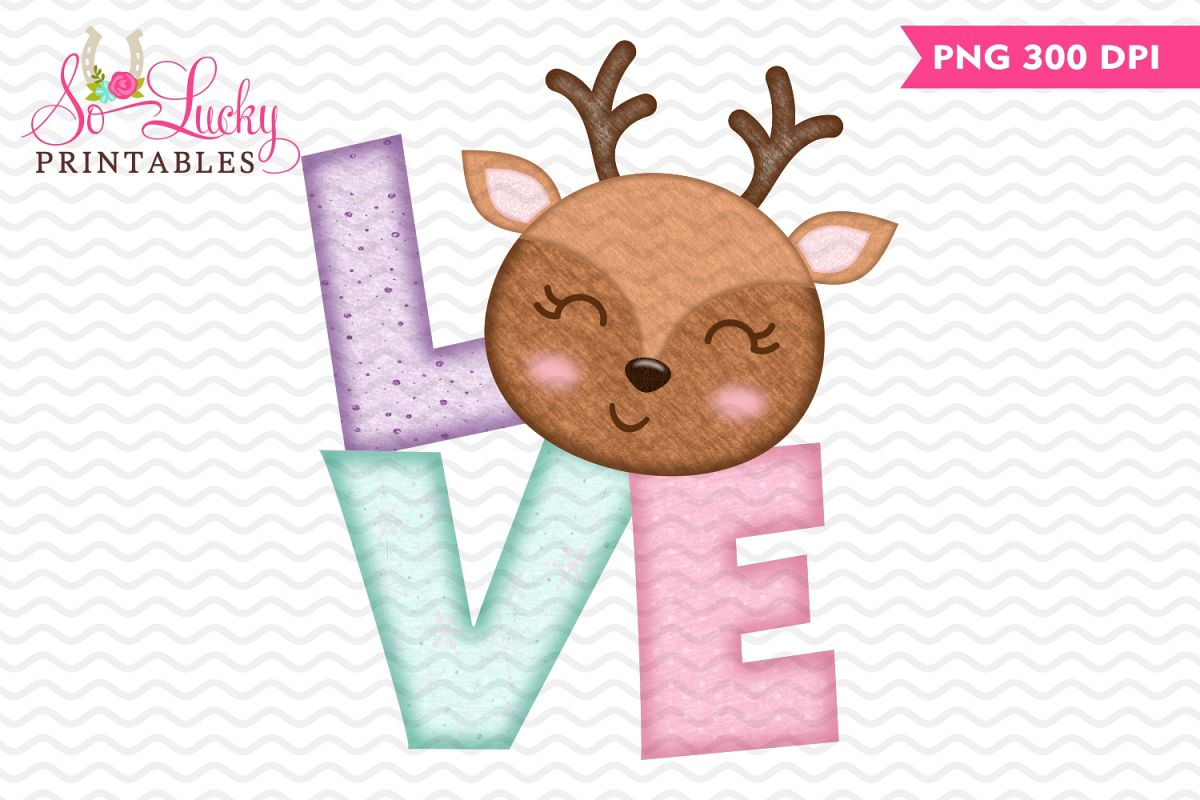 Christmas Love Reindeer printable sublimation design example image 1
