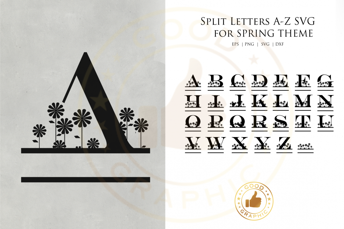 Split Letters A Z SVG For Spring Theme Example Image
