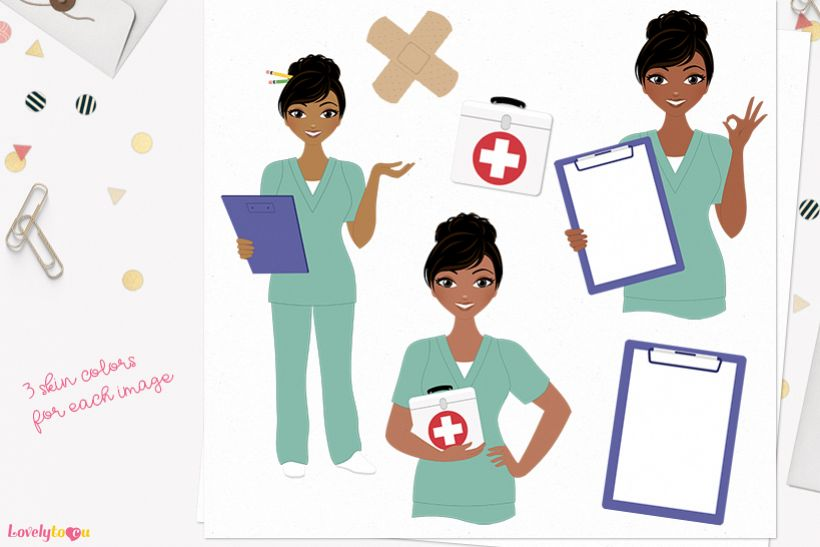 Nurse woman character clip art L392 Jewel example image 1