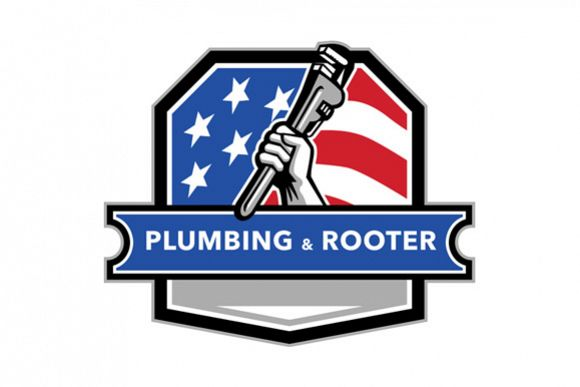 Plumber Hand Pipe Wrench USA Flag Crest Retro example image 1