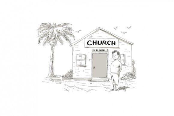 Samoan Boy Stand By Church Cartoon example image 1