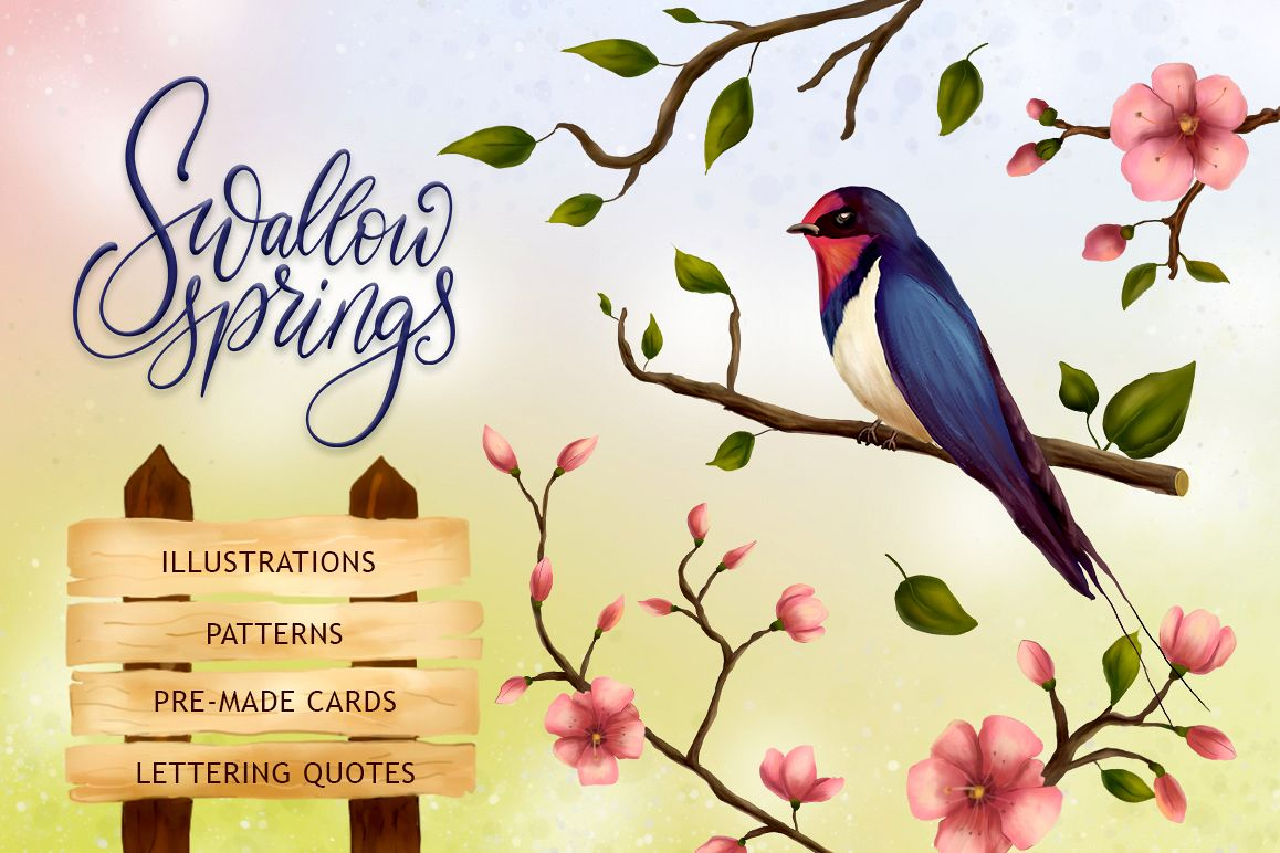 Swallow springs. Gentle graphics set. example image 1