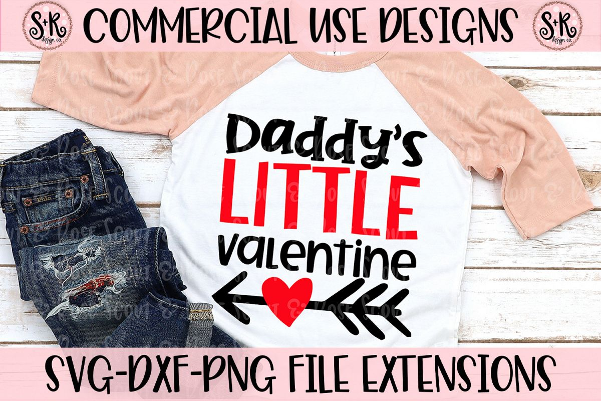 Daddy's Little Valentine SVG DXF PNG example image 1