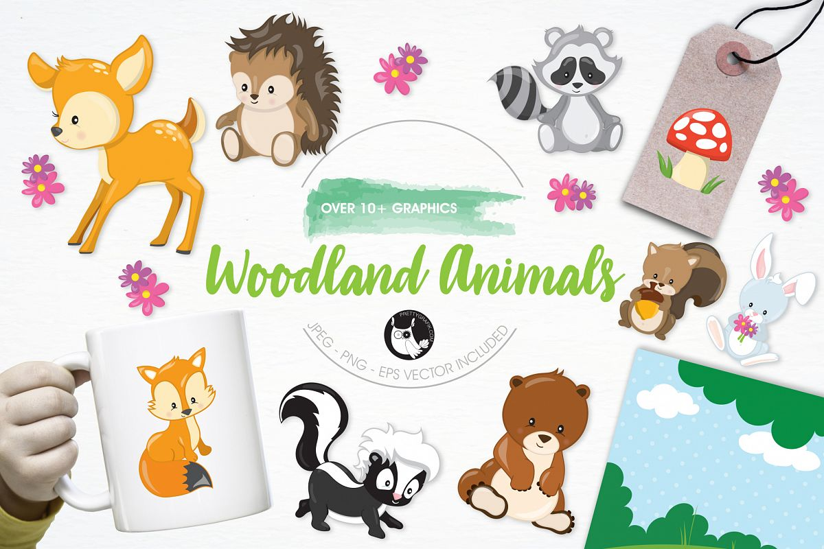 Woodland Animals graphics and illustrations example image 1