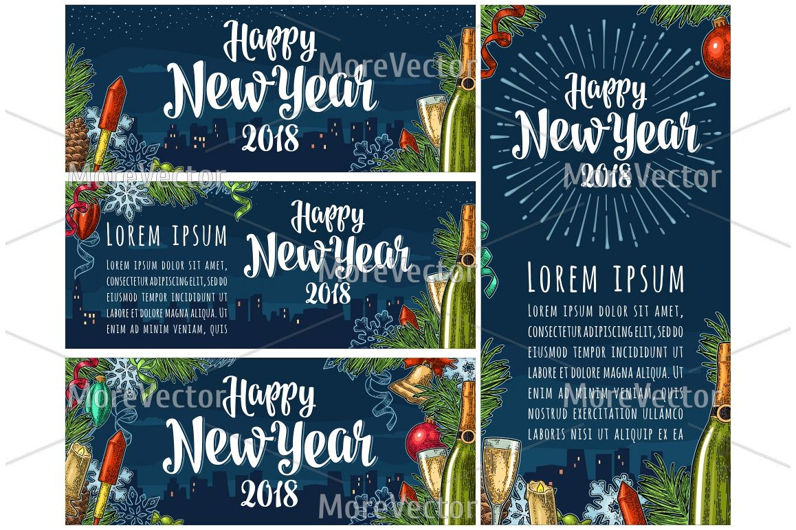 Seamless pattern and posters with Happy New Year 2018 lettering with salute. example image 1
