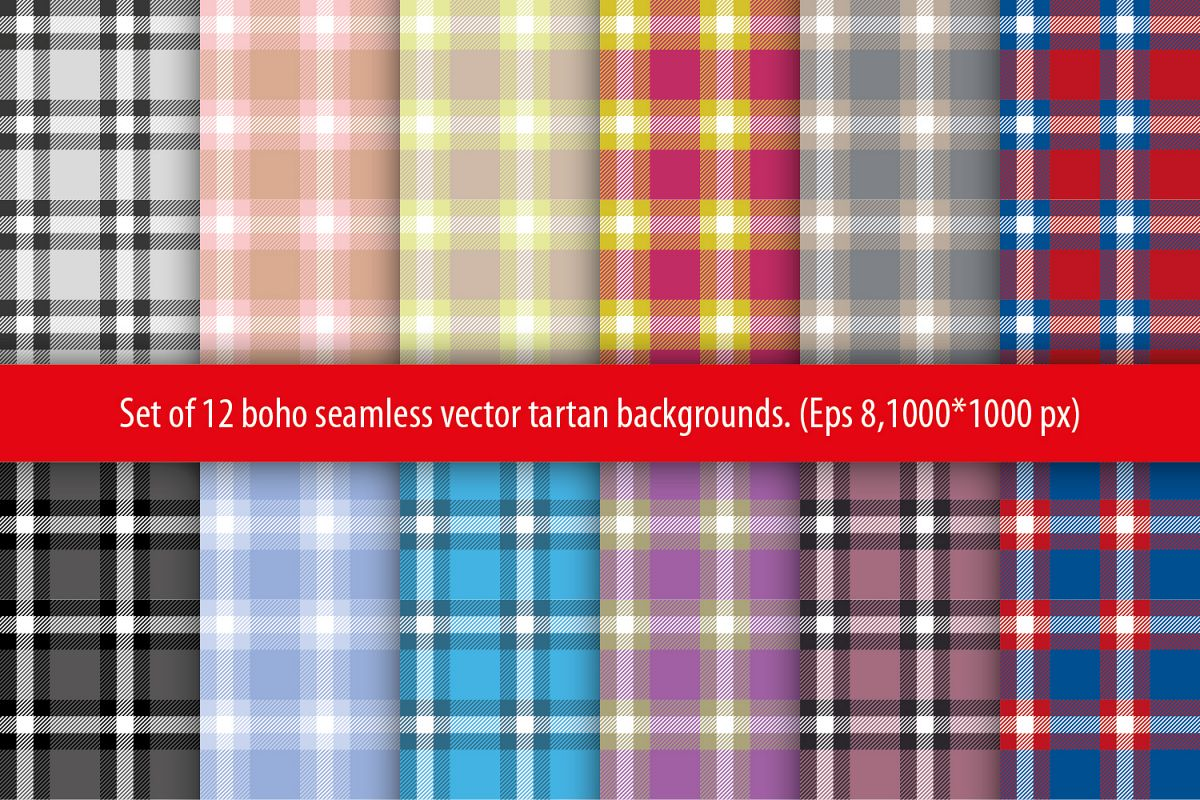 Set of 12 seamless vector tartan backgrounds.  example image 1