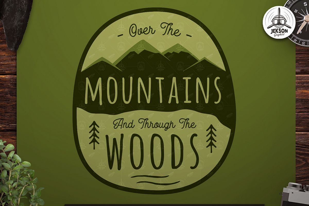 Retro Mountains Adventure Badge / Vintage Travel Logo Patch example image 1