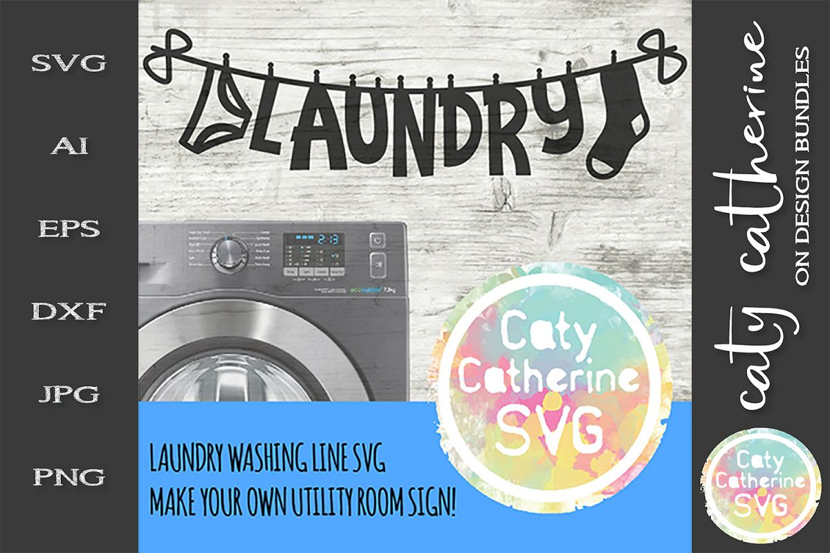 Laundry Clothes On Washing Line SVG Cut File example image 1