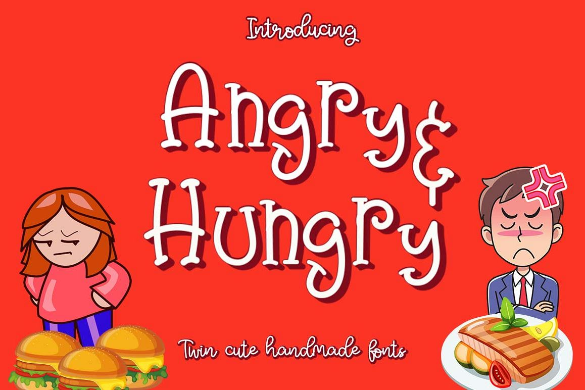 Angry & Hungry Twin Cute Fonts example image 1