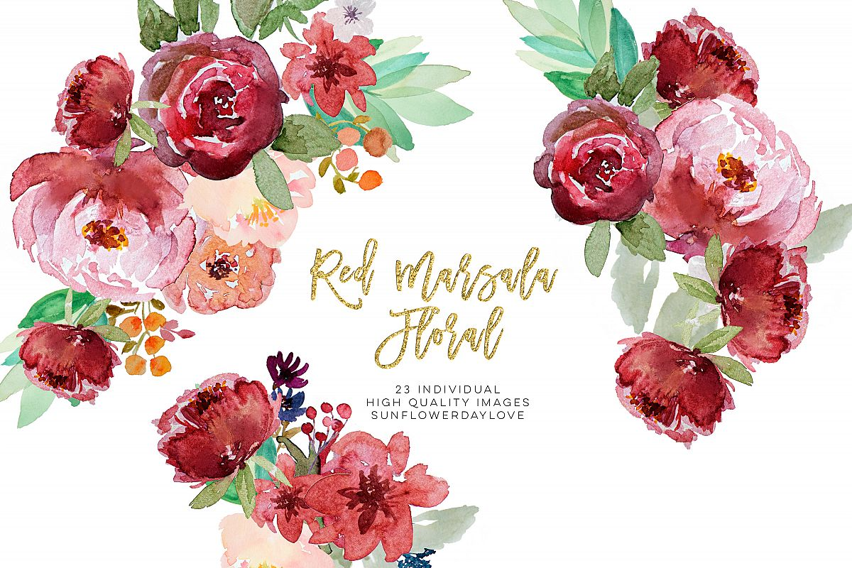 Red marsala floral watercolor clipart example image 1
