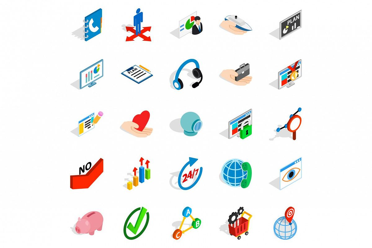 Business career icons set, isometric style example image 1