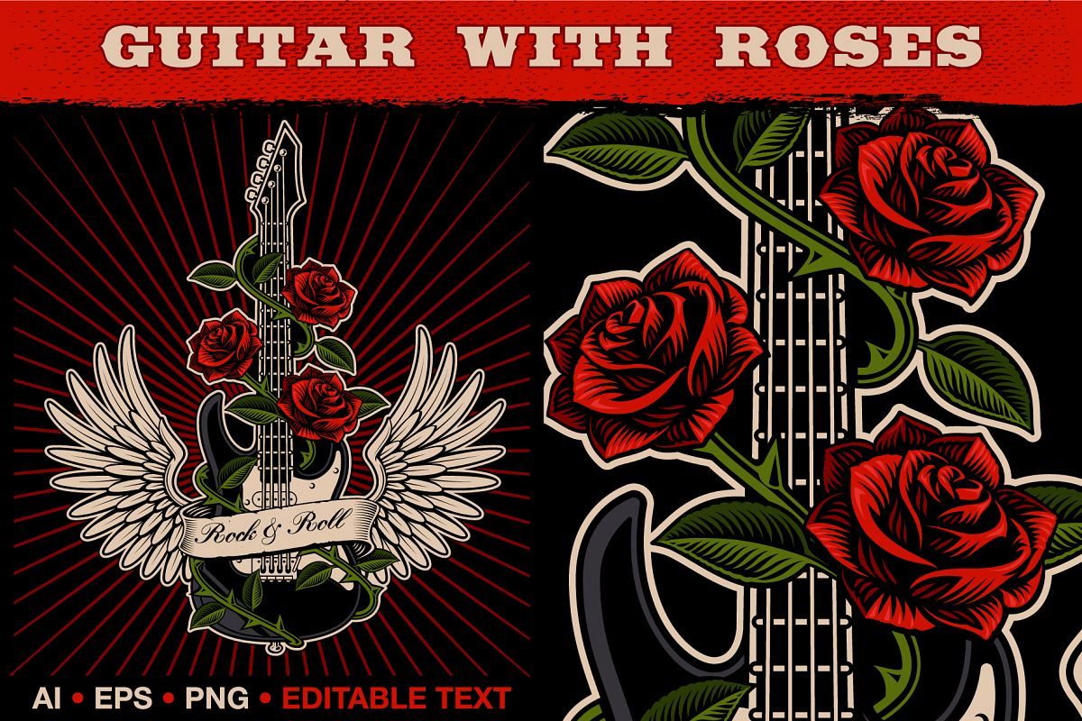 Guitar With Roses example image 1