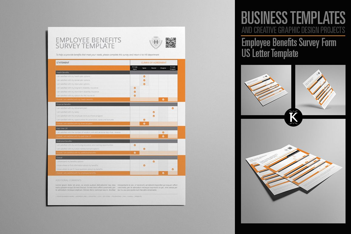 Employee Benefits Survey Form US Letter Template example image 1