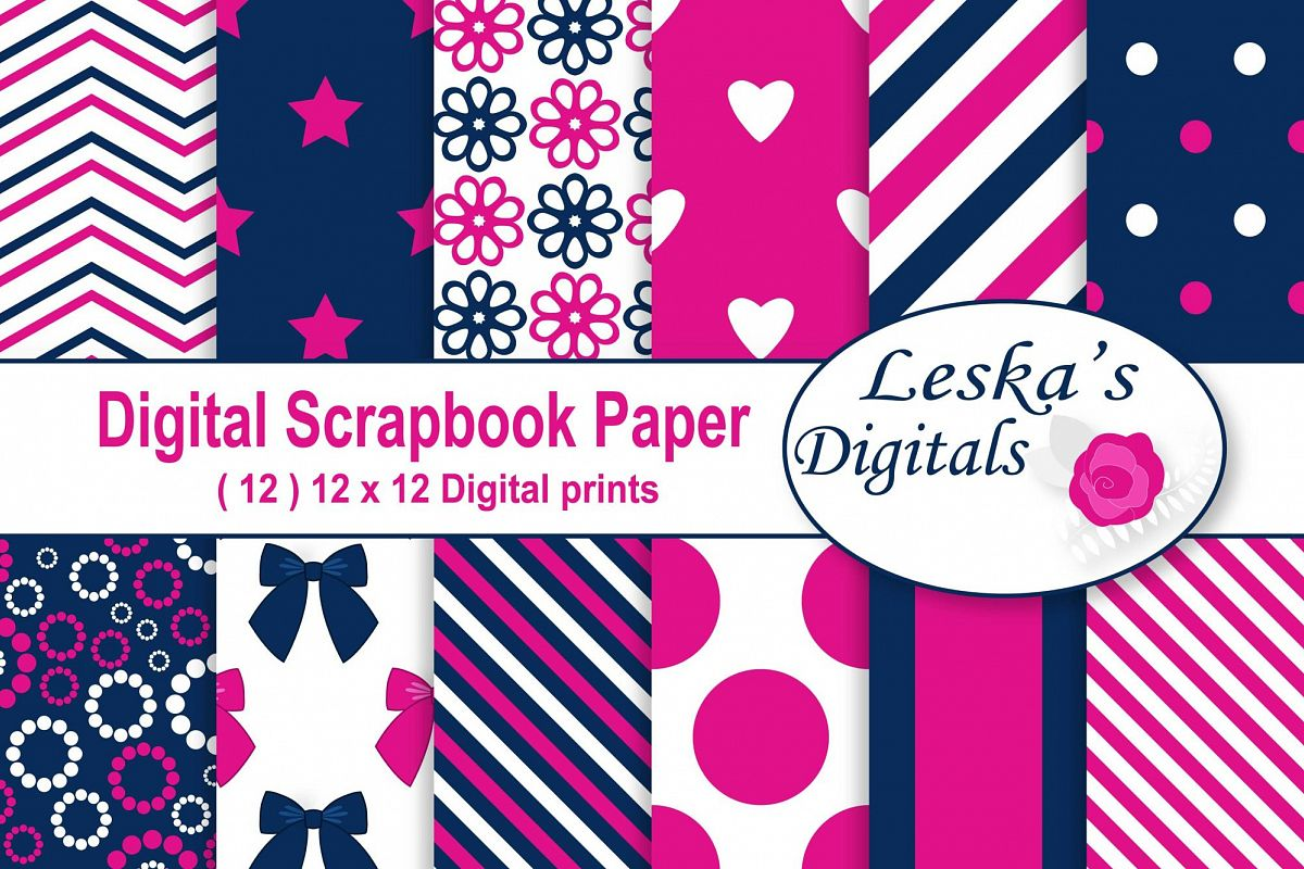 Hot Pink and Navy Digital Paper example image 1