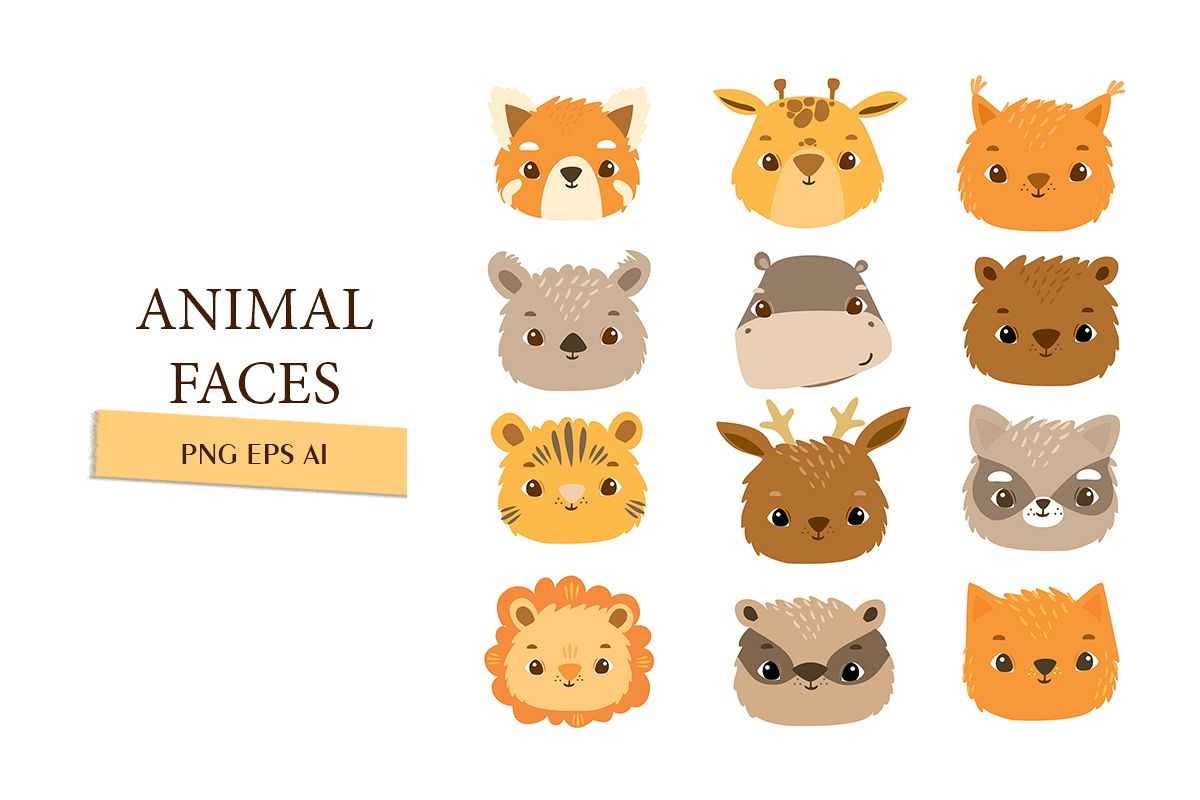 Animal faces icons example image 1