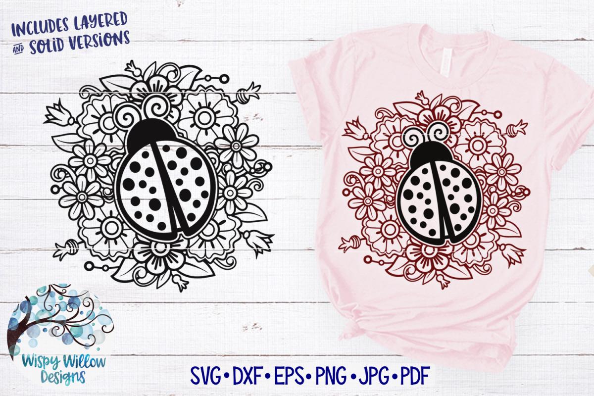 Ladybug in Flowers Mandala SVG Cut File example image 1