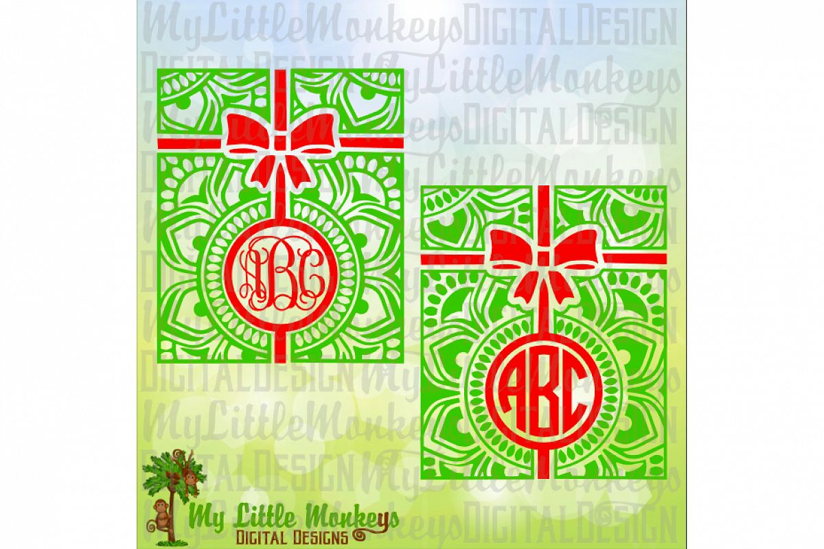 Mandala Christmas Present Monogram Base example image 1