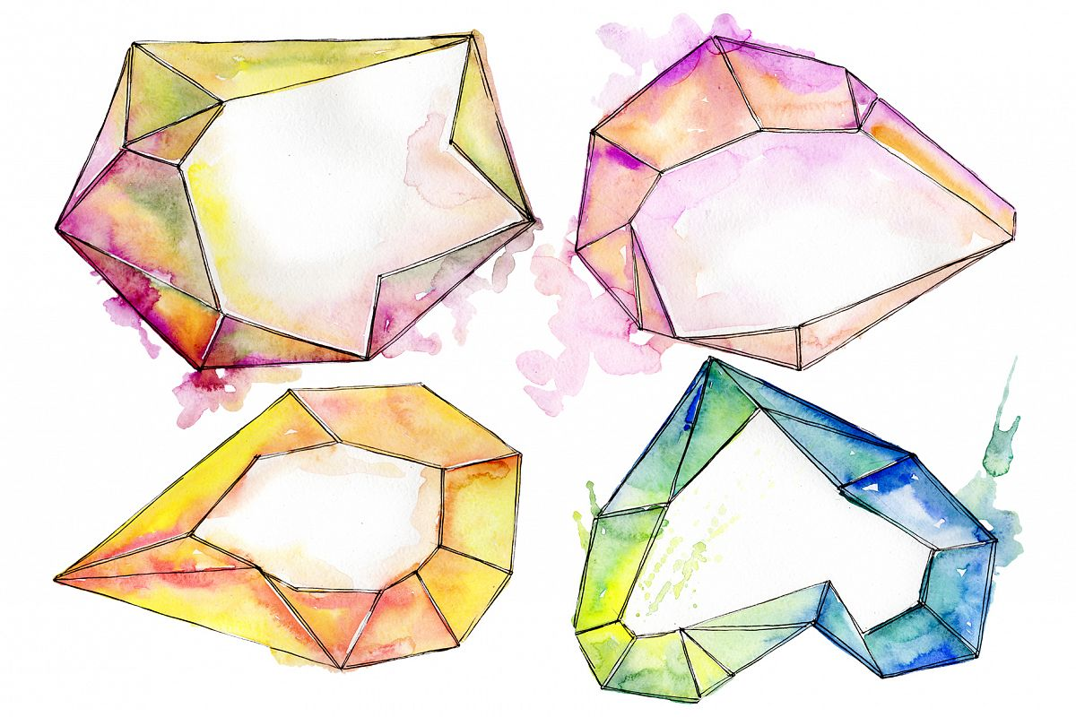 Aquamarine crystals Watercolor png example image 1