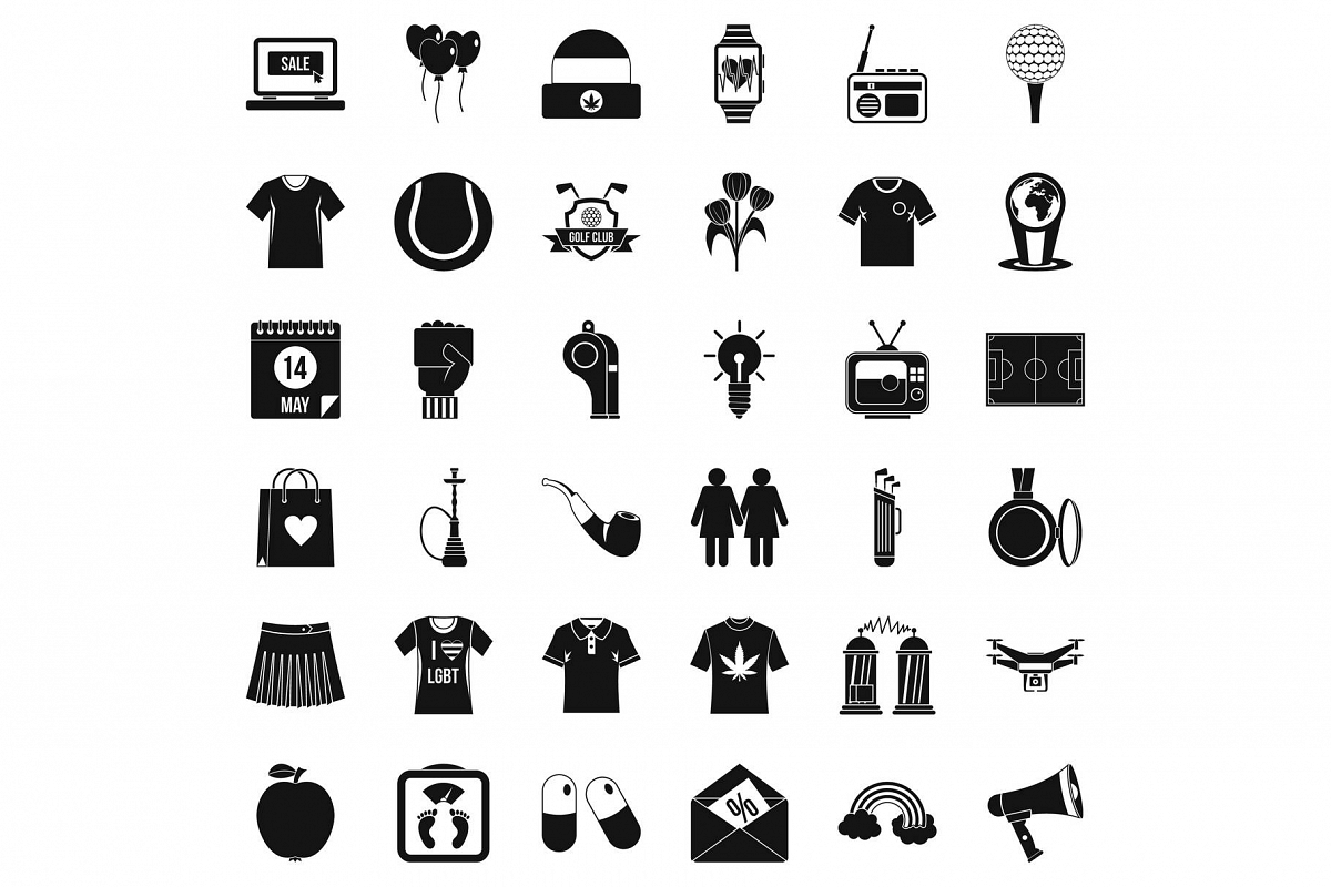 Tshirt icons set, simple style example image 1
