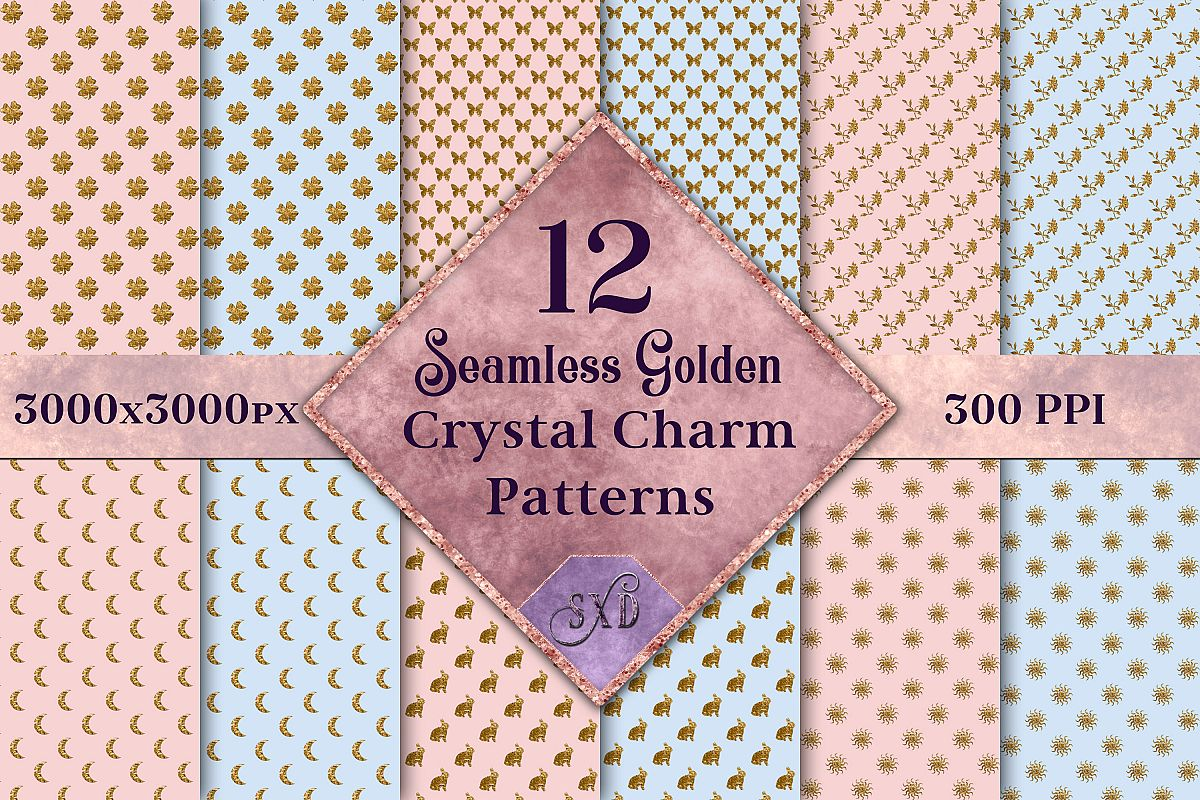 Seamless Golden Crystal Charm Patterns - 12 Images example image 1