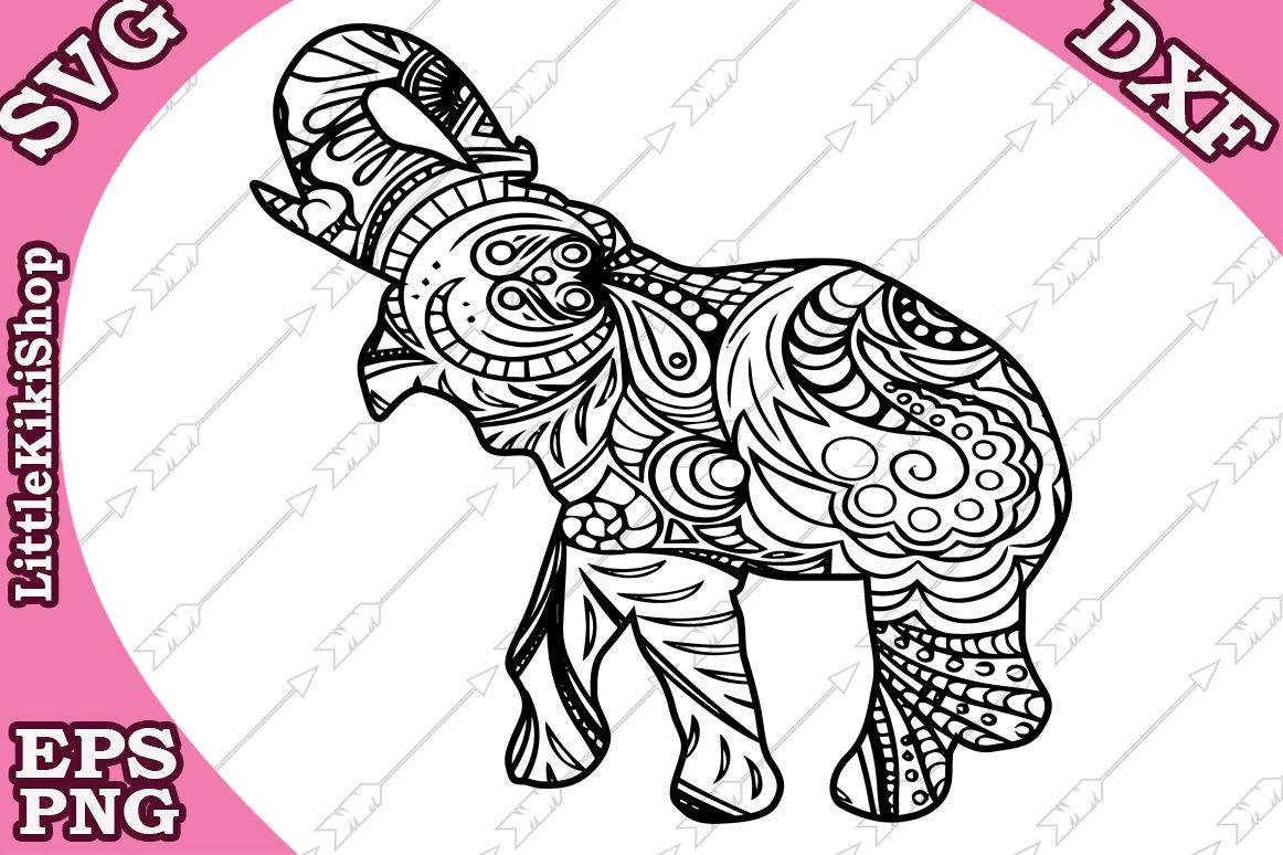 Zentangle Elephant Svg ,Mandala Elephant Svg, Zentangle anim example image 1