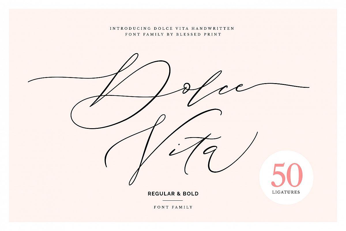 DolceVita - luxury font family with 50 ligatures example image 1