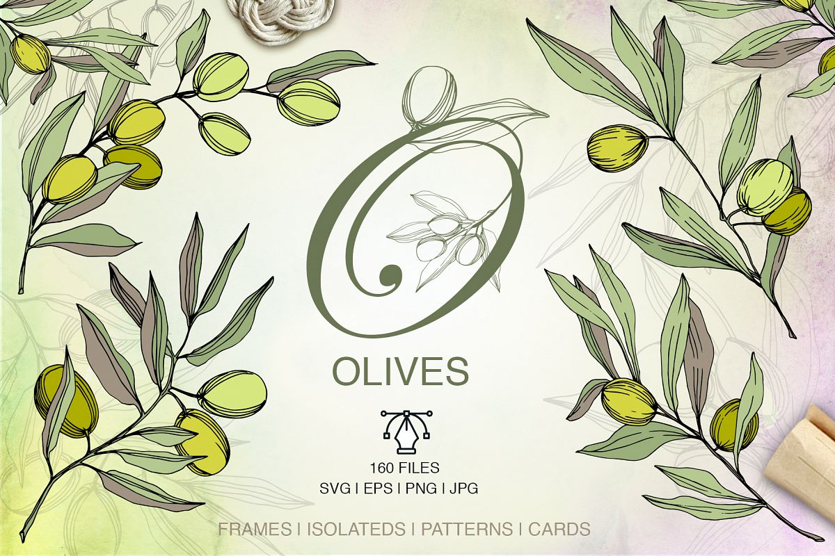 Olives vector EPS watercolor set   example image 1