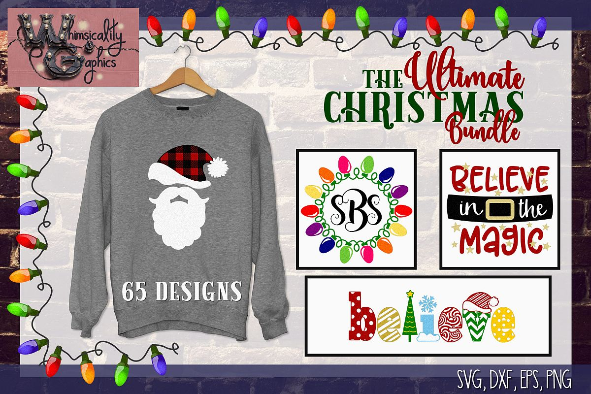 2018 Ultimate Christmas Bundle SVG, DXF, PNG, EPS Comm & Per example image 1
