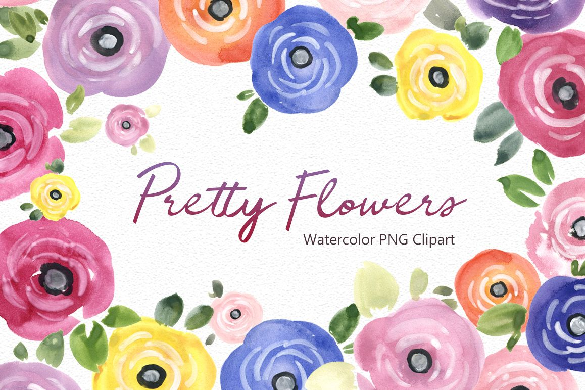 Pretty Watercolor Summer Flowers Png By Design Bundles