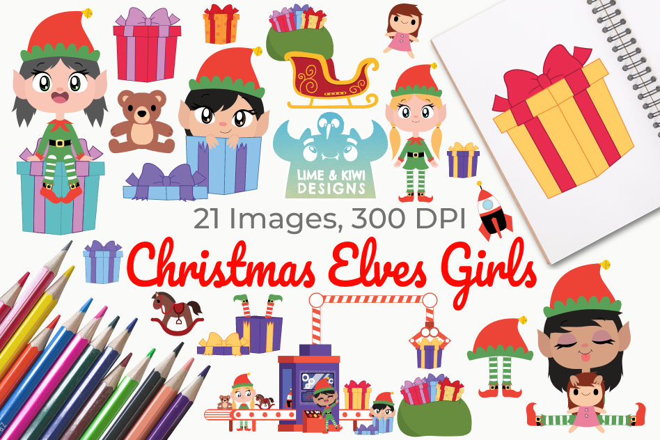 Christmas Elves Girls Clipart, Instant Download Vector Art example image 1