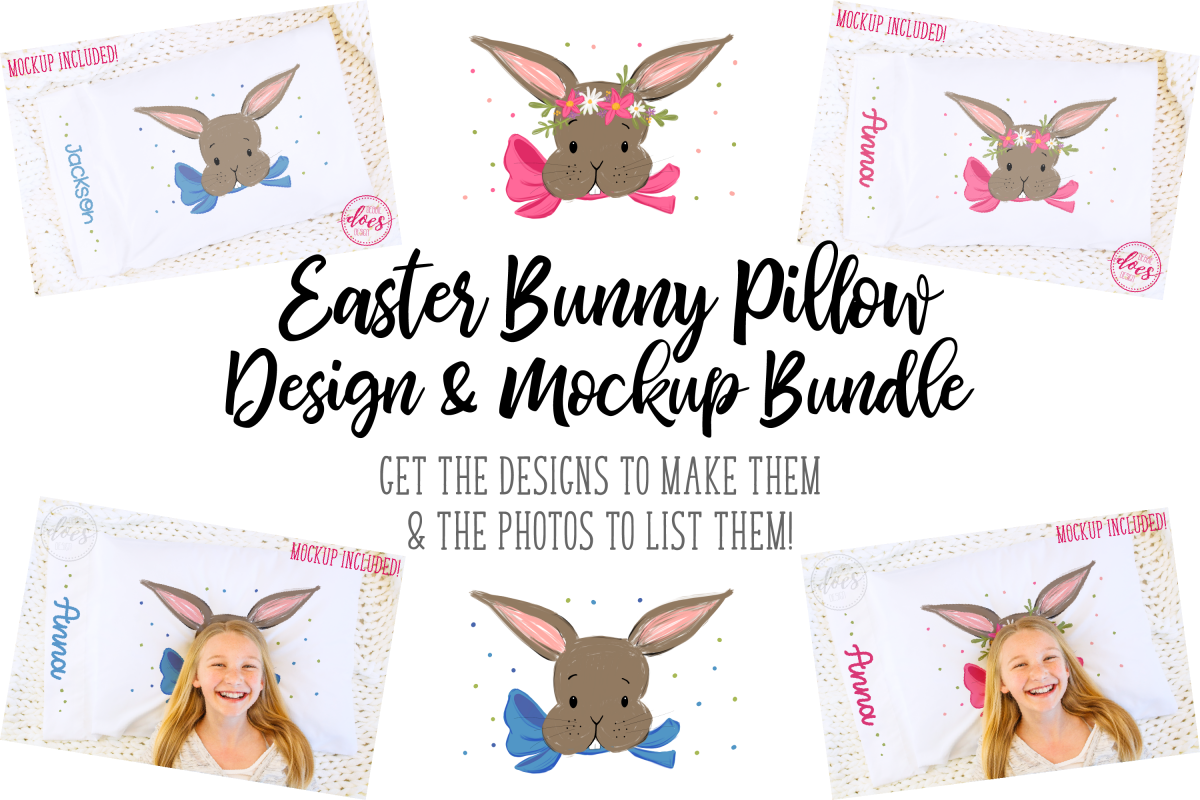 Easter Bunny Pillowcase Design & Mockup Bundle! example image 1